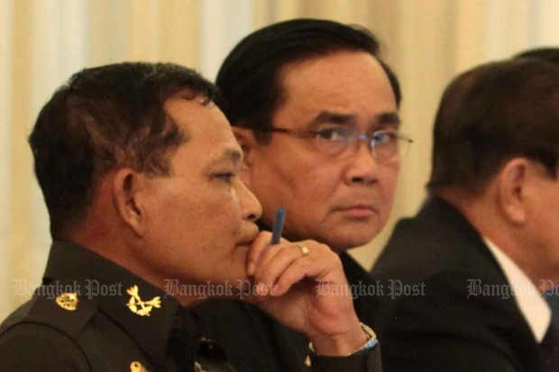 Prime Minister Prayut Chan-o-cha's New Year's resolution was not to be grumpy again, but that didn't help the country rise in the 2018 Happiness Index. (File photo)