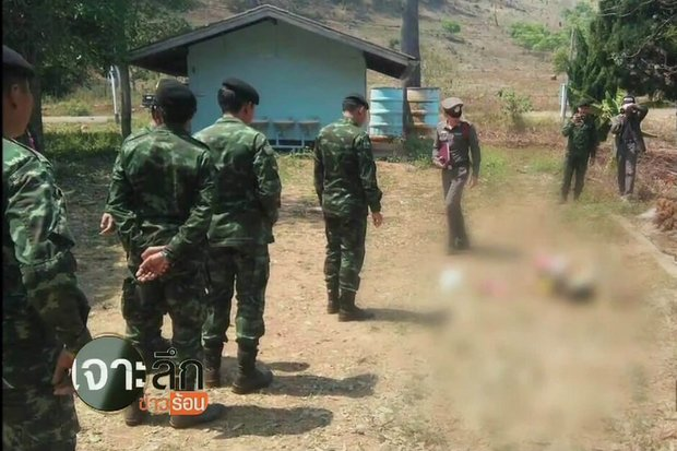 Screen cap from video obtained by TNN shows the body (blurred) where it fell after a soldier, panicking in fear from a grenade about to be thrown, shot and killed 17-year-old Chaiyaphum Pasae with a single shot worthy of an Olympics sharp-shooter.