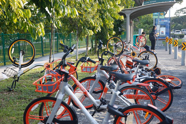 Users caught for parking their shared bicycles indiscriminately more than three times in a year will be banned temporarily from renting from all bike-sharing operators. (TODAY file photo)