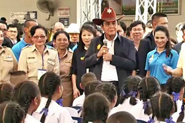 Prime Minister Prayut Chan-o-cha officially launched the ambitious Thai Niyom Yangyuen (sustainable Thai-ism) development project on Feb 21 in Nakhon Pathom province. (Screen capture ThaiPBS)