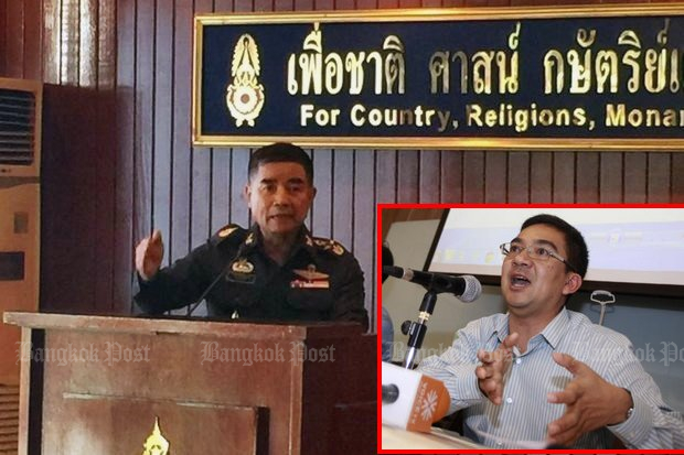 Army commander Chalermchai Sitthisad advised Nitirat group leader Worachet Pakeerut to zipper his comments about possible street violence after the election. (Bangkok Post photos)