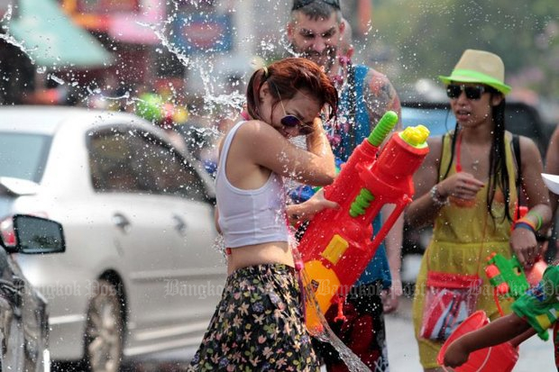 The Local Administration Department has advised all women to dress modestly during the Songkran holiday, or risk sexual harassment and assault. (File photo by Chanat Katanyu)