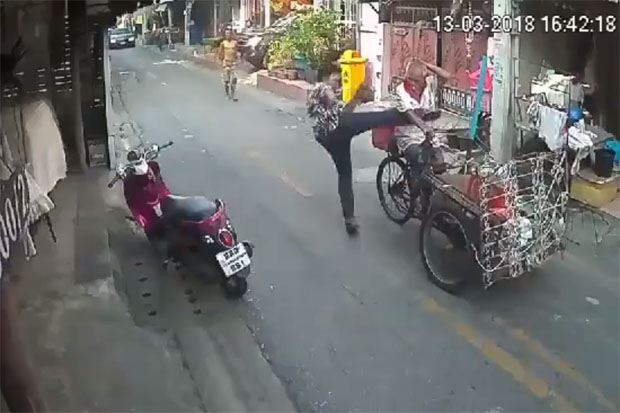 CCTV camera footage shows Charoon Maneepan, 82, being high-kicked in Soi Chan Muang 2 in Din Daeng area, Bangkok, on March 13.