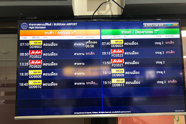 All flights at Buriram airport were cancelled after a defective Nok Air plane blocked the only runway there. (Photo by Surachai Piraksa)