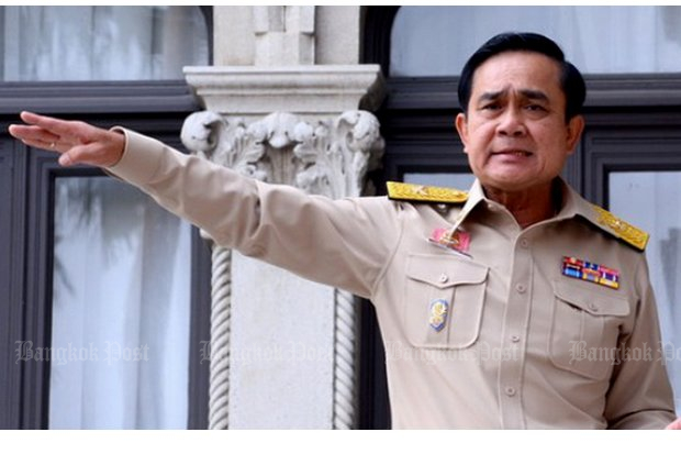 Prime Minister and junta leader Gen Prayut Chan-o-cha: Arm-twisted into taking the job to save the country reluctantly, he now shows signs he wants to stay in power after elections. (File photo)