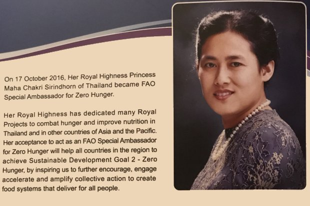 Her Royal Highness Princess Maha Chakri Sirindhorn was appointed as an FAO ambassador in 2016 and has initiated projects to assist the poor and the underprivileged and improve child nutrition. (Image via Public Relations Department)