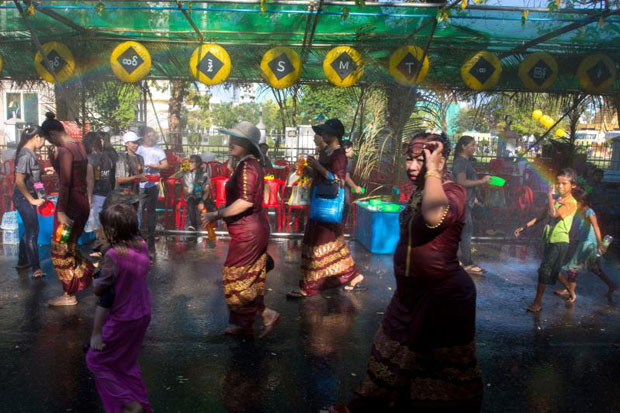 Soaked streets, water fights mark Myanmar festival