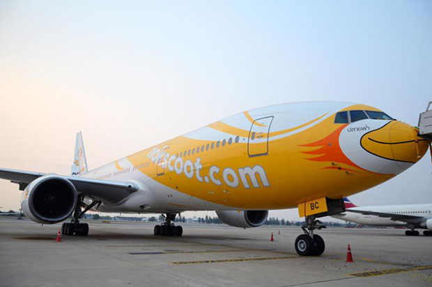 NokScoot will use the Boeing 777-200 jet on its route to Narita airport in Tokyo starting in June. (NokScoot photo)