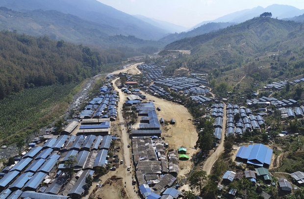 An image provided by information department of the Kachin Independence Organization shows the Je Yang camp for refugees along the Chinese border in northern Kachin state in Myanmar. (AP Photo)