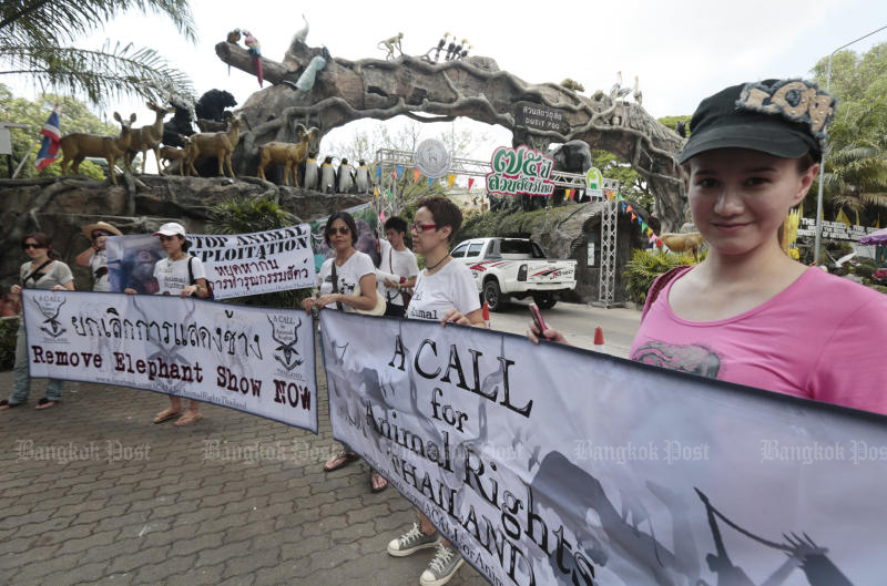 File photo: A Call for Animal Rights Thailand group rallies at Dusit Zoo, calling for a removal of elephant shows from the zoo after complaints over animal cruelty, on May 6, 2013. (Bangkok Post photo)