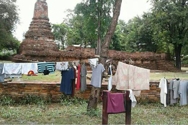 Drying laundry is pictured at Wat Khok Phraya, a historic site in Ayutthaya. (Photo from an unidentified Facebook account released by the Phra Nakhon Ayutthaya Historical Park office)