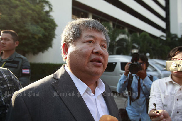 President of Italian-Thai Development Premchai Karnasuta acknowledges but denies charges of illegal possession of firearms seized from his residence in Bangkok in February. (File photo)
