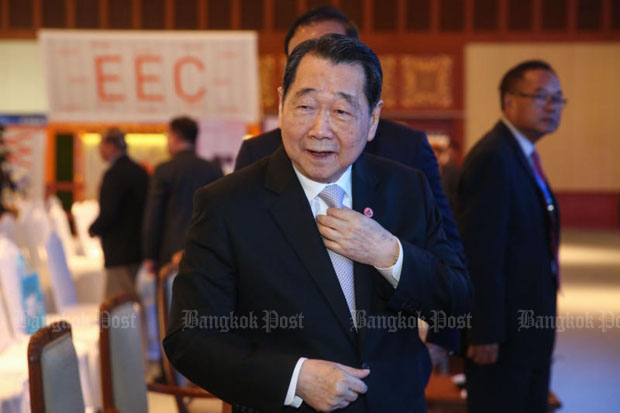 Dhanin Chearavanont, senior chairman of Charoen Pokphand Group, at a discussion on the Eastern Economic Corridor in Chon Buri province last November.
