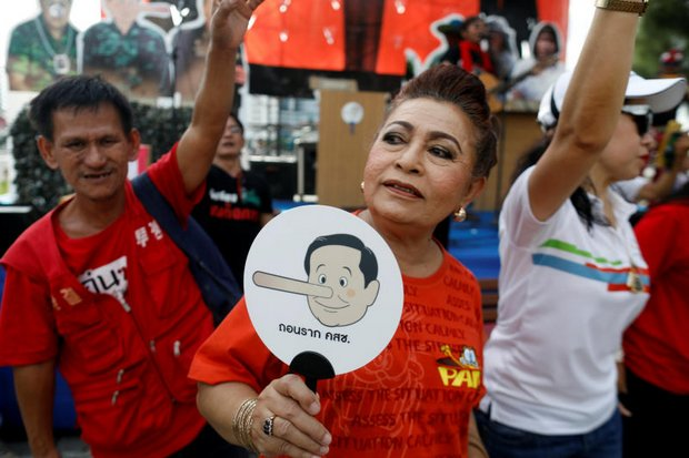 An anti-government protest last Saturday resolved to gather at Government House on May 22, the fourth anniversary of the last military coup, to demand an election this year. (Reuters photo)