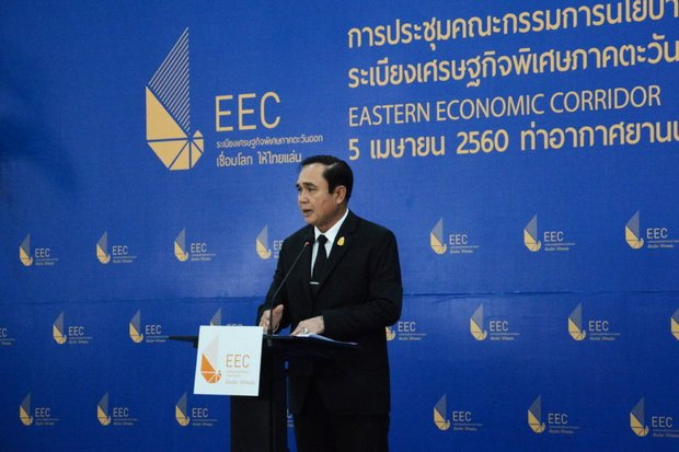 Prime Minister Prayut Chan-o-cha has made numerous speeches and appearances in an effort to boost the EEC. (Photo Ministry of Foreign Affairs)