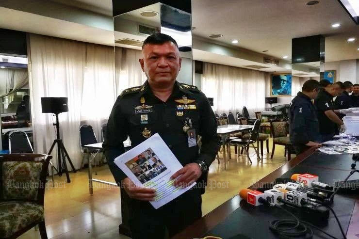 Col Burin Thongpraphai, legal chief of the junta, on Thursday pressed four charges including sedition against core members of the Pheu Thai Party for holding an allegedly illegal political meeting. (Post Today photo)