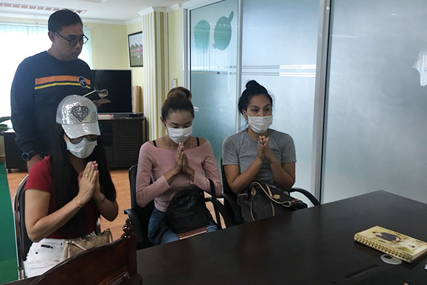 Three transgender women apologise to the public for tarnishing the country's image for tourists after a viral video showed them posing naked in a Pattaya hotel room. (Photo by Chaiyot Pupattanapong)