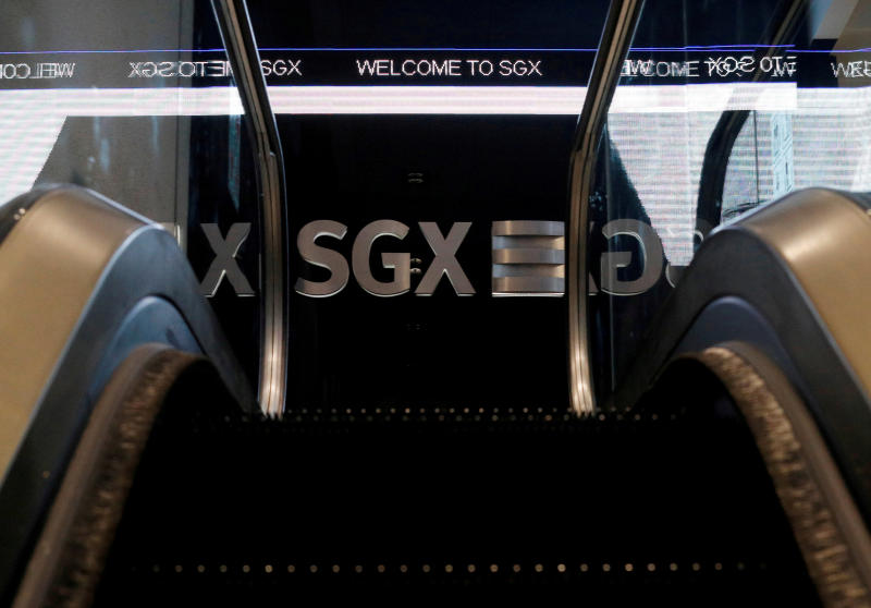 An SGX sign is pictured at the Singapore Stock Exchange. Singapore shares closed more than 2% lower on Wednesday. (Reuters photo)