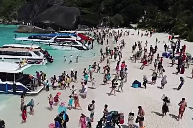 If anyone asks why tourists are banned from overnight stays in Similan National Park, just refer them to the photo above - a typical morning at Moo Koh Similan Marine National Park. (Video cap via Thai PBS)