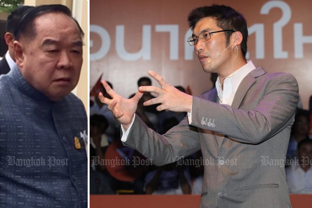 First Deputy Prime Minister Gen Prawit Wongsuwon (left) wants a full investigation by the junta appointed Election Commission of public calls by Future Forward Party leader Thanathorn Juangroongruangkit and supporters for changes to the constitution. (File photos)