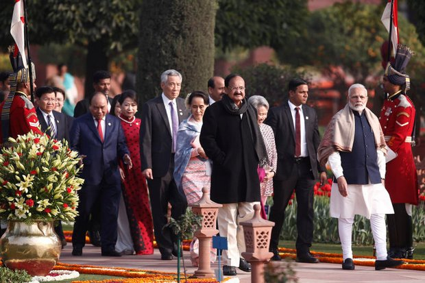 India's Prime Minister Narendra Modi (right) and Indian Vice President Venkaiah Naidu (centre, in black) with Asean heads of government arrive to attend the 'At Home' reception at the Rashtrapati Bhavan presidential palace after the Republic Day parade in New Delhi, in January. (Reuters photo)