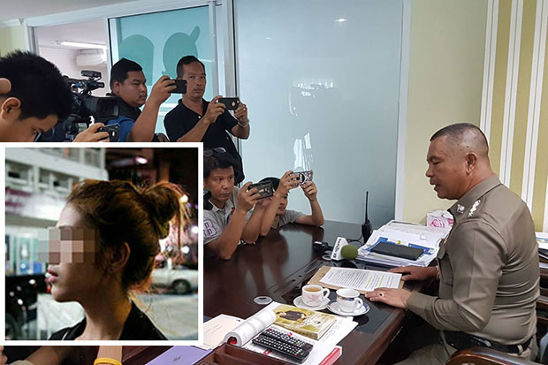 Pattaya city police chief Pol Col Apichai Krobphet answers media questions about sharges of bribe-taking and sexual harassment involving an officer from the station. (Photo by Chaiyot Pupattanapong)