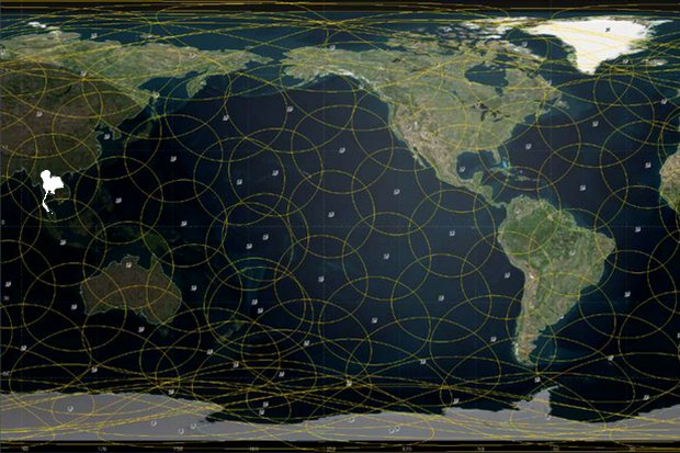 The Theia Satellite Network's plan is to cover the entire Earth (including Thailand, left) with ' a constellation of 112 operational satellites in low-Earth orbit, non-geostationary satellites. (Graphic via theiaspace.com)