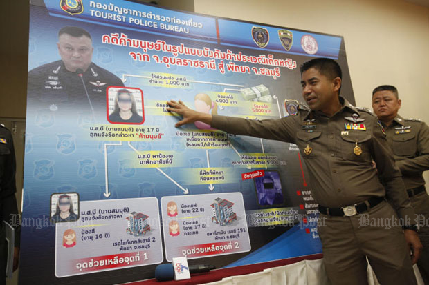 Pol Maj Gen Surachate Hakparn, deputy chief of tourist police, shows the chart describing the forced child prostitution, at a press conference at the Royal Thai Police Office in Bangkok on Tuesday. (Photo by Pornprom Satrabhaya)