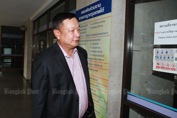 Banyin Tangpakorn, 54, at the Bangkok South Criminal Court in April this year to testify in the case involving the alleged theft of shares worth 300 million baht from late construction tycoon and short-term friend Chuwong sae Tang. (File photo   by Somchai Poomlard)