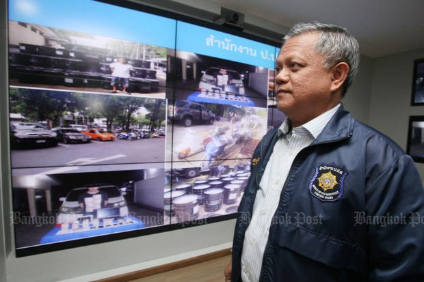 A series of surveillance and post-arrest photos show the tale of the 15 tonnes of precursors seized in a Thai-Myanmar operation. At right, Sirinya Sitdhichai, secretary-general of the Office of the Narcotics Control Board (ONCB). (Photo by Apichit Jinakul)