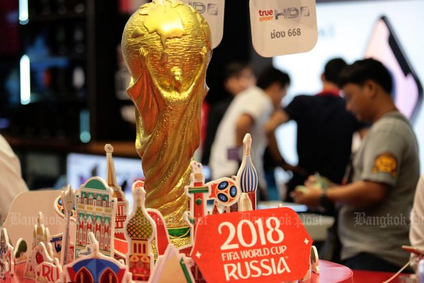 A department store display shows 2018 World Cup-themed decorations ahead of the tournament kick-off on Thursday. (Wichan Charoenkiatpakul)