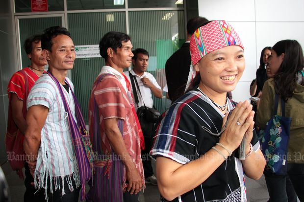 Karen villagers come to the Supreme Administrative Court in Bangkok on Tuesday. (Photo by Tawatchai Kemgumnerd)