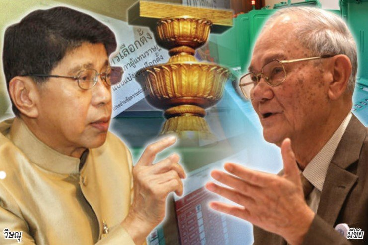 Deputy Prime Minister Wissanu Krea-ngam (left) and junta-appointed constitution writer Meechai Ruchupan will meet Thursday with the Election Commission.