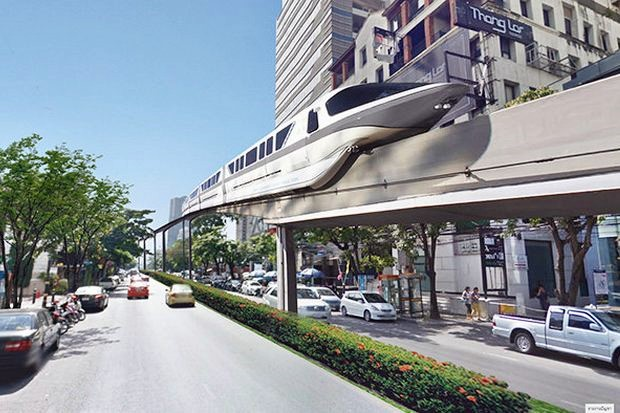 This artist's representation of the proposed Grey Line monorail shows the train superimposed on an image of Soi Thong Lor (Sukhumvit 55), and was submitted as part of the Environmental Impact Assessment in 2016. (Photo via Linkedin)