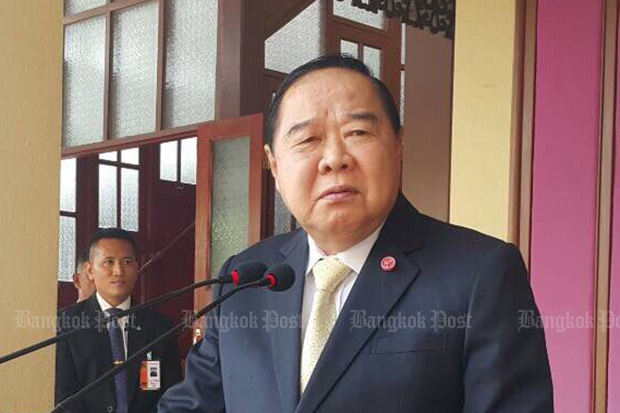 Deputy Prime Minister Prawit Wongsuwon says a ban on political activities will remain intact until the organic laws involving elections come into force. (Bangkok Post file photo)