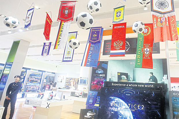 A department store uses the World Cup to promote electric appliances. WEERAWONG WONGPREEDEE