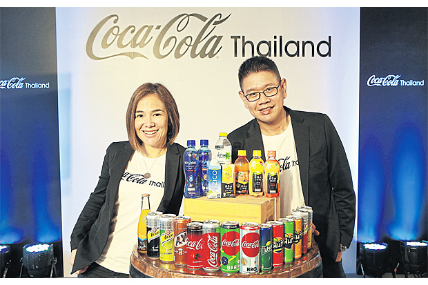 Claudia Navarro, marketing director of Coca-Cola for Thailand and Laos, with Nuntivat Thamhatai, public affairs and communications director of Coca-Cola Thailand Ltd.