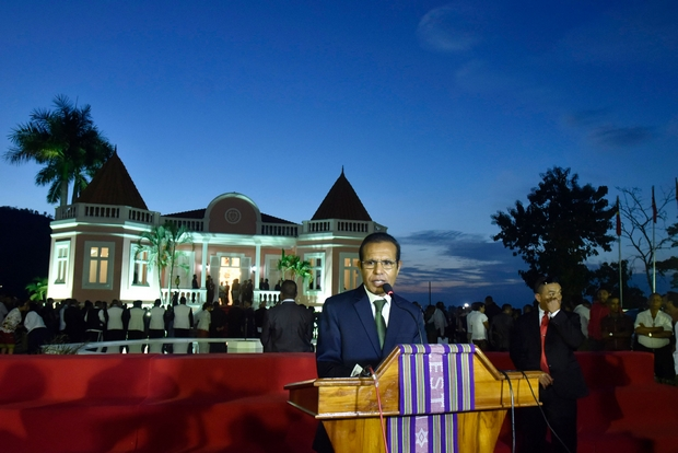 East Timor Prime Minister Taur Matan Ruak delivers a speech at the Palacio Nobre Lahane in Dili on Friday. (AFP Photo)