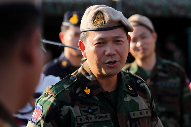 Lieut Gen Hun Manet attends a sports competition in Phnom Penh in January. (Reuters Photo)