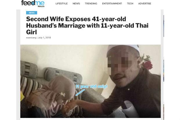 Screenshot from https://www.feedme.com.my/second-wife-exposes-41-year-old-husbands-marriage-with-11-year-old-thai-girl