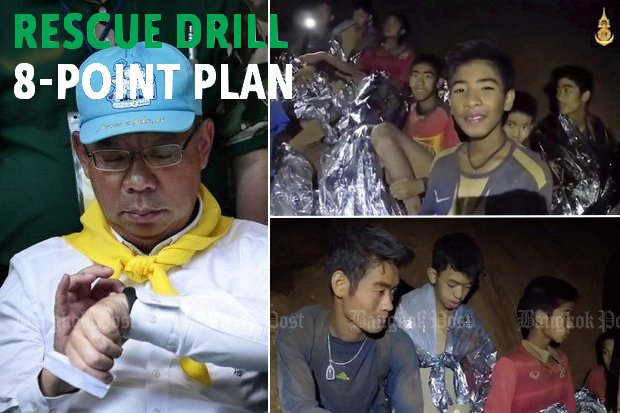 Rescue operations coordinator and soon-to-be ex-Chiang Rai governor Narongsak Osotthanakorn checks his watch before Wednesday's daily media briefing. Top right: Seals video shows boys with emergency foil blankets while (bottom) is the football coach Eakapol Chanthawong, who led the Mae Sai footballers into the cave. (Photos by Patipat Janthong, Thai Navy Seals)