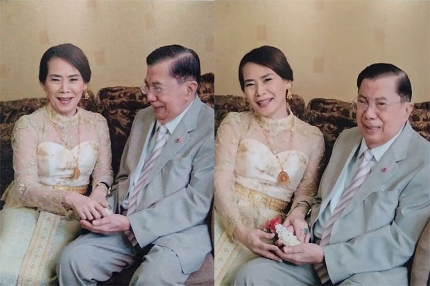 Gen Chavalit Yongchaiyudh is seen with his new wife in the pictures that went viral on Tuesday. (From Facebook account บ้านพลเอกชวลิต-อรทัย สรการยงใจยุทธ)