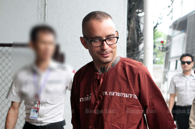 Spanish national Artur Segarra Princep arrives from Bang Kwang Central Prison to hear the Appeal Court's ruling in Bangkok on Friday. (Photo by Tawatchai Kemgumnerd)
