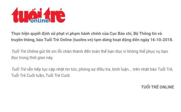 A message on the homepage of Vietnamese news website Tuoi Tre Online announces its suspension. (Screenshot of https://tuoitre.vn/ taken on Tuesday afternoon)