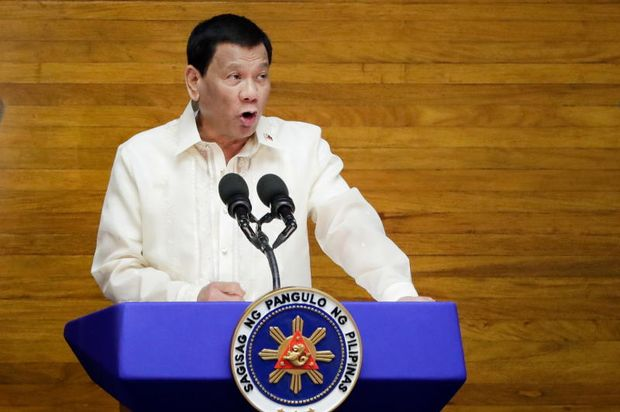 Philippine President Rodrigo Duterte delivers his State of the Nation Address at the Philippine Congress in Quezon City, Philippines, on Monday. (EPA photo)