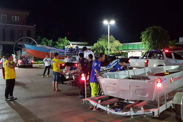 Rescue workers in Nakhon Ratchasima province prepare their gear before leaving for Laos to support rescue missions in response to a hydropower dam collapse. (Photo by Prasit Tangprasert)