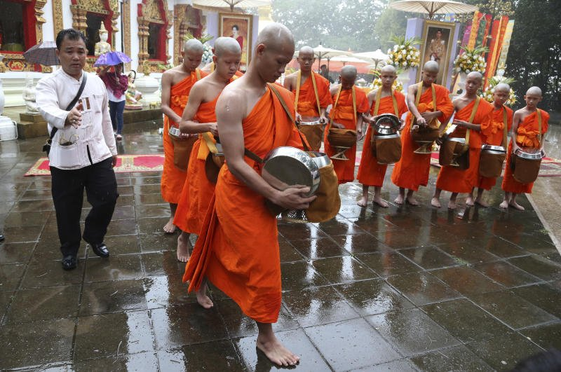 Members of the Wild Boars rescued from the Tham Luang cave were ordained for nine days as novices, and will return home next week. (AP photo)