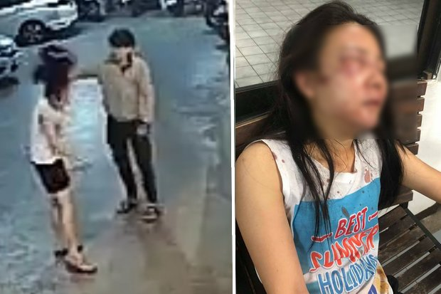The confrontation caught on CCTV included the assailant beating the smaller and weaker woman with her motorcycle helmet. Right, the victim, her injuries obvious even though the photo has been blurred. (Photos via social media)