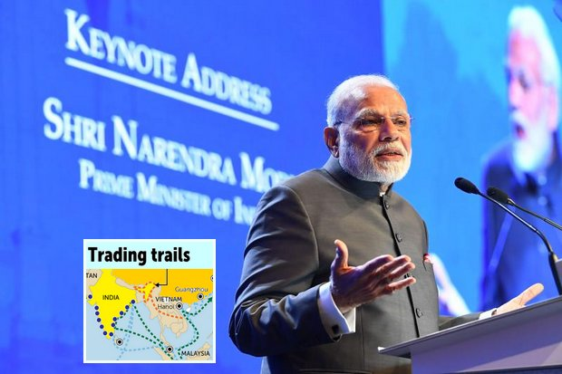 Indian Prime Minister Narendra Modi's 'Act East' policy is a revamp of the decades-old 'Look East' strategy of former governments, designed to strengthen economic and strategic relations in Southeast Asia. File photo shows Mr Modi opening last month's IISS Shangri-La dialogue in Singapore. (Handout via AFP)