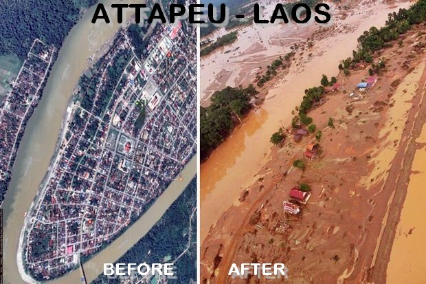 The town of Attapeu was pretty well wiped out by the collapse of the Xe Pian Xe Namnoy dam complex on the Sekong River.